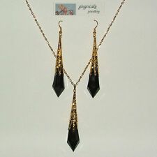 LARGE BLACK VICTORIAN STYLE GOLD PLATED FILIGREE PENDANT SET LG FP
