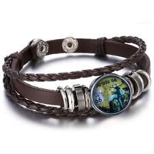 bracelet cuir noir route 66 (jaune ) bouton pression 18mm