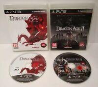 Dragon Age Origins 1 & 2 - Lot 2 Jeux PS3 PAL français - Complet - Comme neuf
