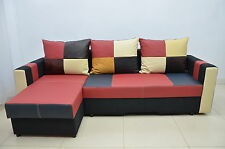 100%REAL LEATHER CORNER SOFA BED 'BOBBY' BEST PRICE, SPRINGS INSIDE! COLOURS!