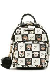 Betsey Johnson Kitsch Puppies Dog Backpack Cream Faux Leather Pom-Pom Charm