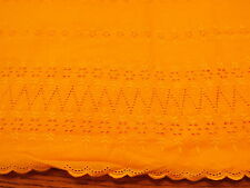 "1 MT BRODERIE ANGLAISE FABRIC DARK CANARY YELLOW 56"" DOUBLE BORDER POLY COTTON"