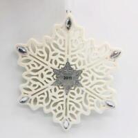 2011 Snowflake Hallmark Ornament Porcelain Silver Embilished