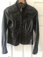 Ladies Miss Sixty Leather Jacket Dark Brown Small Retro Motorcycle Biker RRP200