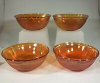 Set of 4 Imperial Glass Prism & Daisy Band Marigold Small Fruit/Dessert Bowls