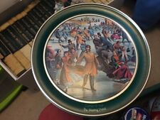 Currier Ives Metal Tin Winter Skating Pond Old Fashioned Period Dress