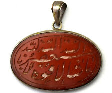 Hand Carved Carnelian Pendant Antique Sterling Silver and Natural