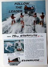 Evinrude 75hp Starflite II Outboard Motor 1960  Magazine Print Ads 10 x 7