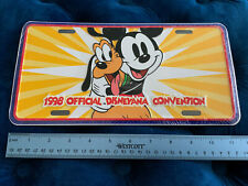 New 1998 Official Disneyana Convention Metal Raised License Plate Mickey & Pluto