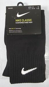 Nike Classic Cushioned Knee High Soccer Socks Black S WMN 4-6, YTH 3Y-5Y SX5728-