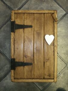 SOLID PINE WOOD WOODEN HANDMADE KITCHEN BATHROOM WALL CUPBOARD Heart Handle
