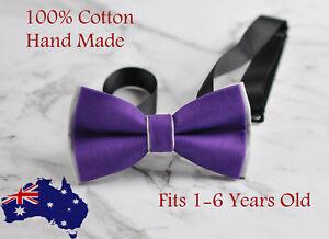 Boy Kids Baby Infant Cotton Purple Grey Bow Tie Bowtie Wedding 1-6 Years Old