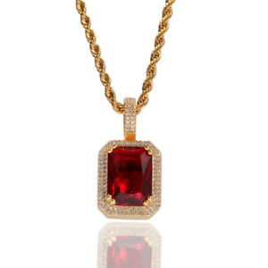 Hip Hop Pendant Necklace for Men & Women AAA+ CZ Gold&Silver Plated Cos Jewelry