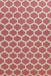 New Trellis Oriental Area Rug Wool Hand-Tufted 9x12 ft Pink Contemporary Carpet