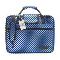 Beaumont Sheet Music Carrying Case - Blue Polka Dot Folio Bag w/ Shoulder Strap