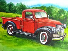 Watercolor Painting Old Red Car Vintage Retro Truck Art 5 x 7