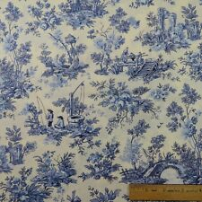 Cotton Fabric Sew French Toiles Blue and White Flowers Bridges Ponds - BTY