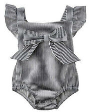 Baby Grow Girls Striped Romper Dress with Bow, Winged Jumpsuit Outfit 3 6 9 12m