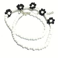 "16"" Black White Beaded Flower Necklace Choker Glass Bead Silver Plated Handmade"