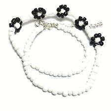 Glass Bead Choker Necklace Pendant Summer Hippy Fashion Black & White