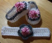 Handmade Crochet Baby Girl Booties, Head Band White ,Pink Gray  Newborn 3 Months