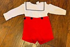 Vintage Sweet Potatoes 2T Boys Outfit Red Corduroy Shorts Black White Sailor Top