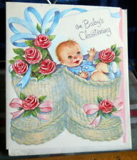 Vintage Baby'S Christening Embossed Large Greeting Card Die Cut circa 1950