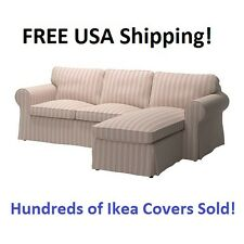 Ikea EKTORP 3 Seat Sectional (Loveseat Chaise) Slipcover Cover MOBACKA BEIGE RED