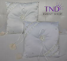 SATIN WEDDING RING BEARER PILLOW ACCENTED WITH PEARLS AND RHINESTONES