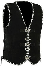 Men's Motorcycle Harley Style Spanish Braid Suede Vest with Clips Size S - 5XL