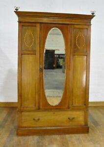 Antique inlaid mirror door wardrobe