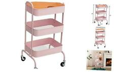 3-Tier Metal Utility Cart with Wheels, Storage Rolling Cart with Handles, Pink