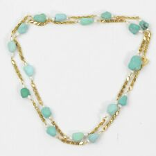 """VINTAGE STUNNING 18k YELLOW GOLD CHAIN 30.5"""" WITH TURQUOISE & PEARLS"""