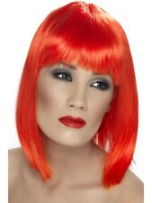 Neon Red Glam Wig Short, Blunt with Fringe Womens Smiffys Fancy Dress Costume