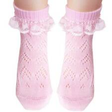 Girls cotton ankle socks with lace and flat toe seam white pink cream 1-9 years