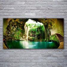 Glasbilder Wandbild Druck auf Glas 120x60 Wasserfall Landschaft