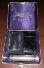 Vintage Gillette Tuckaway SilverTone Razor Set from  1920 Dated