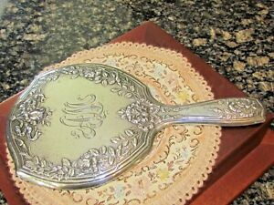 Beautiful Victorian Gorham Flowers and Bows Sterling Large Hand Mirror 11""