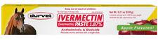 Durvet Ivermectin Paste Apple Flavor Horse Wormer Bots Tube Parasites 1.87%