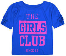 Girls Blue Cotton Crop Top Kids Summer T shirt 6 7 8 9 10 11 12 13 14 15 16 Yrs