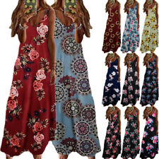 Women Summer Holiday Tank Top Dress Boho Floral Print Maxi V Neck Swing Sundress