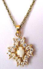 Superbe collier couleur or pendentif opaline cristaux roche navette diamant 328