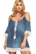 Magliette da donna a manica corta blu viscosa