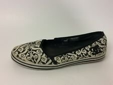 DC Womens 7 M Shoes White Black Canvas Tribal Slip On Ballet Flats Loafer Casual