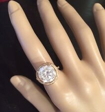 SALE! 4.03CT Moissanite & Real  Diamonds, Solid 14K Yellow Gold Solitaire Ring
