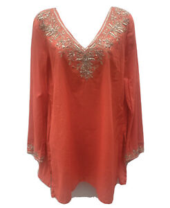 EAST Sz M Women's Ethnic Kaftan Tunic Smock Dressy Top Coral Cotton Beaded Neck
