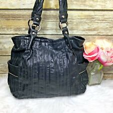 B. Makowsky Black Leather Pleated Accent Purse Shoulder Bag Hobo Tote
