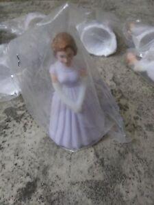 "8 Vintage Bridesmaid Purple Violet Dress Cake Topper Cake Decoration 3"" NEW"