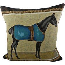 Kissen - Pferd mit Decke türkis - Zierkissen ca 45 x 45 cm Gobelin Sofakissen