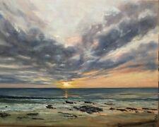 """Original Oil Painting, Seascape,Beach, SUMMER SUNSET16x20"""". Schelp"""